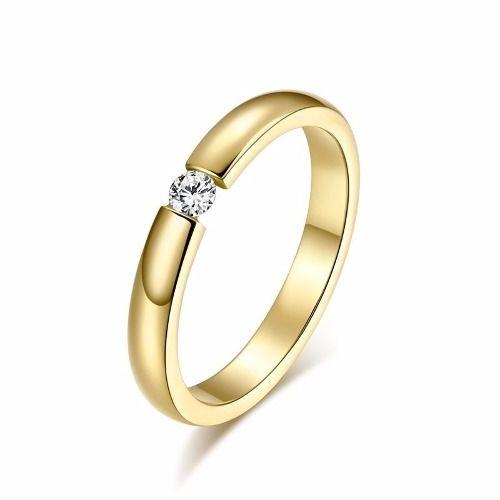 Anel Aliança Compromisso Noivado Casamento Banhado Ouro