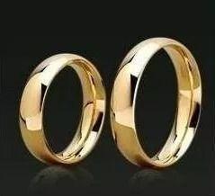 Alianças Par Tradicional Noivado Casamento Banhada Ouro 18k