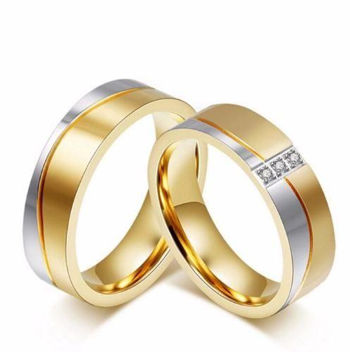 Par Aliança Anel Compromisso Aço Banhada A Ouro Zircônias
