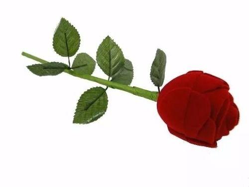 Estojo De Veludo Para Alianças Flor Rosa Com Caule