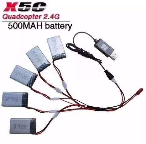5 Baterias 3.7v 500mah Drone Intruder H18 Candide Carregador
