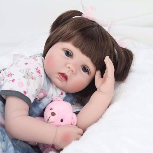 Bebê Reborn Realista Linda Modelo Vestido Azul Ursinho