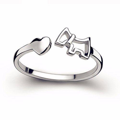 Anel Regulável Banhado A Prata Coração Love Cachorro