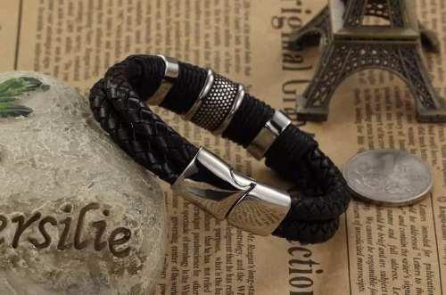 Bracelete Pulseira Masculina Vintage Couro E Aço 316l, 12mm
