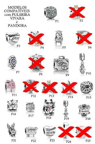3 Berloques B. Ouro18k/prata P/puls Pandora Charm Ou Vivara