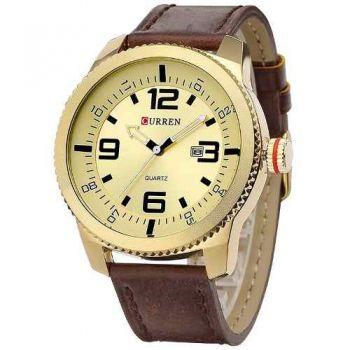 Relógio Masculino Curren Analógico 8180 Marrom E Dourado