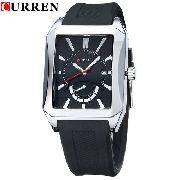 Relógio Masculino Luxuoso Curren Retangular Quartz 8144
