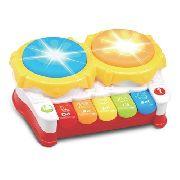 Bateria Musical Piano Infantil Tambor Criança Luzes E Musica