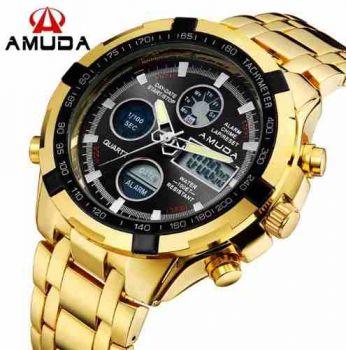 Relógio Dourado Prata Masculino Amuda Luxo - Modelo 2002