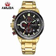 Relógio Masculino Dourado Luxo Amuda - Am5015