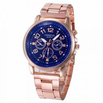 Relógio Feminino Ouro Rosê Luxo Casual Geneva Promoção