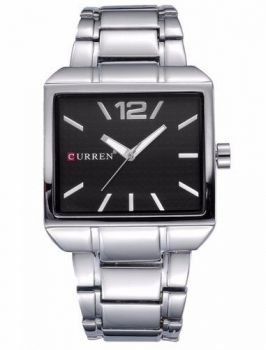 Relógio Masculino Quadrado Aço Inox Curren 8132 Preto Luxo