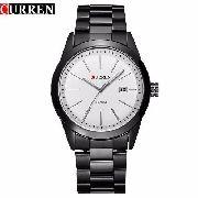 Relógio Curren 8091b Unissex Luxo Com Calendário Branco
