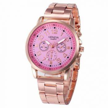 Relógio Feminino Dourado Rosê Luxo Casual Geneva Promoção