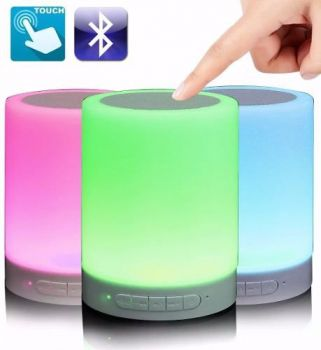 Caixa De Som Bluetooth Led Luminária Abajur Touch Mp3 Aux
