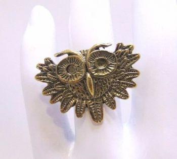 Anel Regulável Coruja Dourada Vintage