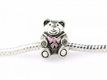 Charm Berloque Vivara Pandora Banh. Prata Urso Laço Rosa