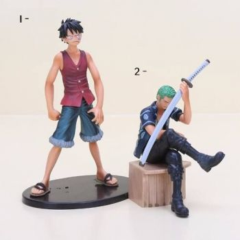 Boneco One Piece Styling Law Luffy Zoro Mihawk Figure Bandai