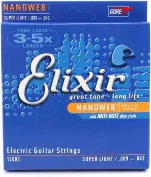 Encordoamento Guitarra Elixir Nanoweb Super Light 12002