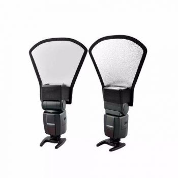 Kit 6 - Rebatedor Refletor Flash Luz Leque Branco Prata