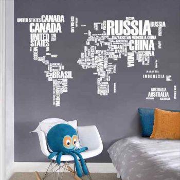 Adesivo De Parede Mapa Mundi 122 X 74 Cm Com Letras