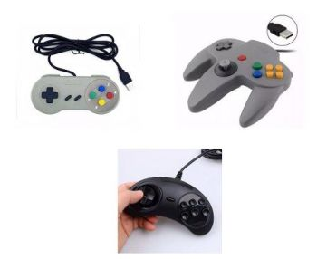 Kit 3 Controles - Snes, 64 E Sega Mega Drive Usb