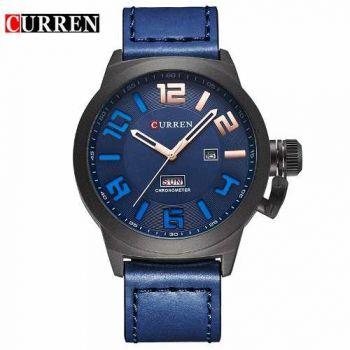 Relógio Curren 8270 Masculino Azul Pulseira De Couro