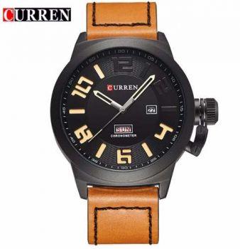 Relógio Curren 8270 Masculino Preto Marrom Pulseira De Couro