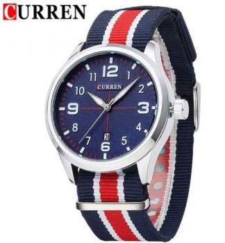 Relógio Curren Analógico 8195 Fundo Azul Pulseira Nylon