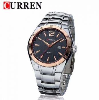 Relógio Masculino Curren 8103 Aço Casual Luxo Fundo Preto