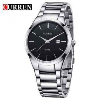 Relógio Curren Masculino Original 8106 Prata Fundo Preto