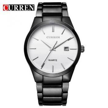 Relógio Curren Masculino Original 8106 Preto Fundo Branco