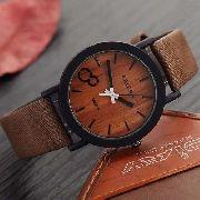 Relógio Feifan Madeira Pulseira De Couro Café - M009