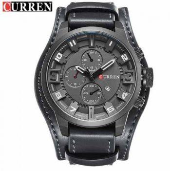 Relógio Masculino Curren Couro Importado Preto Modelo 8225
