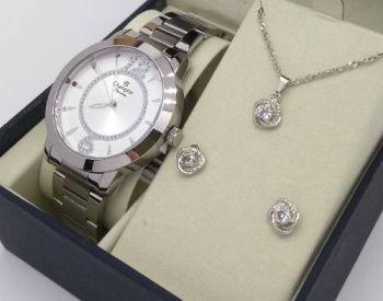 Relógio Feminino Champion Ch24259c Prateado Kit Jóia Brinde