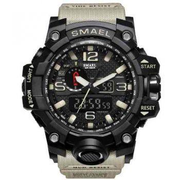 Relógio Masculino Militar Esporte Smael 1545 Prova Agua Kaki
