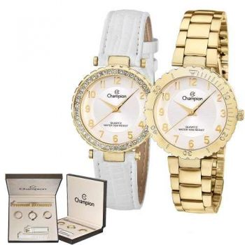 Kit Relógio Champion Troca Pulseira Feminino Cn28759h