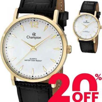 Relógio Champion Dourado Couro Unissex Prova D'água Ch22715m