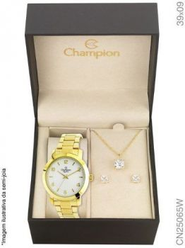 Relógio Champion Feminino + Conjunto Semi Joia Cn25065w