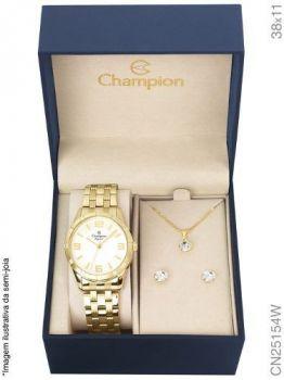 Relogio Champion Dourado Feminino Cn25154w +kit Semi Joia