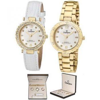 Relogio Champion Feminino Fashion Dourado Kit Cn29203h