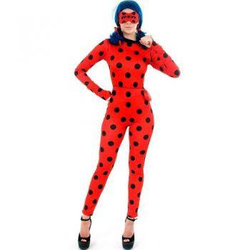 Fantasia Miraculous Ladybug Adulto Macacão E Máscara
