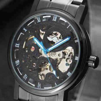 Relógio Importado Preto Masculino Skeleton Automático
