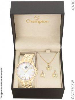 Relogio Champion Dourado Feminino Cn27705w + Kit Semijoia