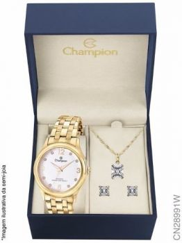 Relógio Champion Original Cn28991w + Kit Brinde