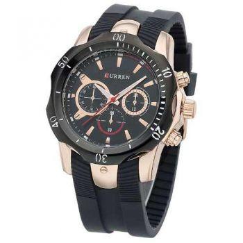 Relógio Curren Original 8163 Luxo Esportivo Preto E Dourado