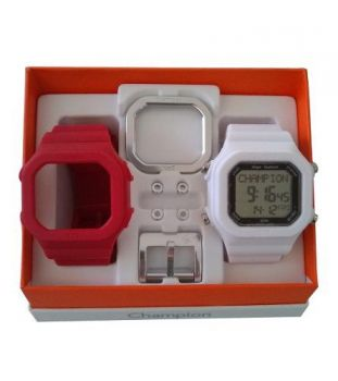 Relógio Champion Yot Original Cp40180x Branco Vermelho