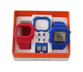 Relógio Champion Yot Original Cp40180x Azul Vermelho