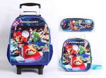 Kit Mochila Carrinho G + Lancheira + Estojo Super Mario Kart
