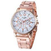ce89950bab Relógio Feminino Dourado Rosê Luxo Casual Geneva Promoção - SUPER25